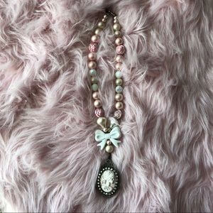 Pink Pearl Rose and Skull Cameo Necklace Lolita